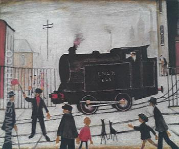 Level Crossing with Train - L-S-Lowry reproduction oil painting