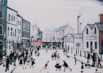 Level Crossing Burton-on-Trent - L-S-Lowry reproduction oil painting