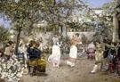 A Fiesta on a Sevillan Terrace - Jose Gallegos y Arnosa reproduction oil painting