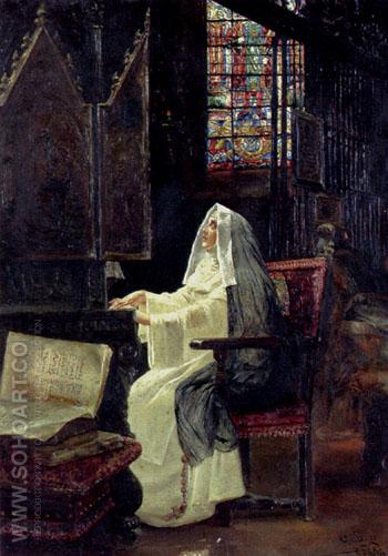 At Prayer 1894 - Jose Gallegos y Arnosa reproduction oil painting