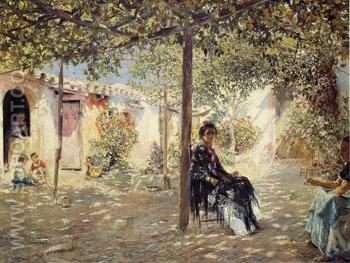 Ladies in a Sundappled Courtyard - Jose Gallegos y Arnosa reproduction oil painting