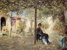 Ladies in a Sundappled Courtyard - Jose Gallegos y Arnosa