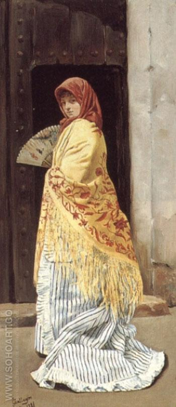 The Yellow Shawl 1881 - Jose Gallegos y Arnosa reproduction oil painting