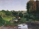 The Village on the River Bank - Konstantin Yakovlevich Kryzhitsky