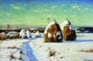 Winter Landscape with Haystacks in 1910 - Konstantin Yakovlevich Kryzhitsky