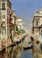 A Venetian Canal with The Scuola Grande Di San Marco and Campo San Giovanni E Paolo Venice - Rubens Santoro reproduction oil painting