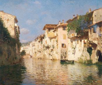 Canale Dell Acqua Morta c1890 - Rubens Santoro reproduction oil painting
