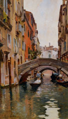 Gondola on A Venetian Canal - Rubens Santoro reproduction oil painting