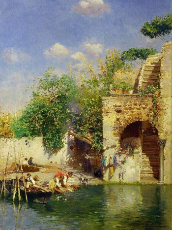 Lavandaie A Venezia - Rubens Santoro reproduction oil painting