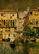 Leaving A Residence on The Grand Canal - Rubens Santoro reproduction oil painting