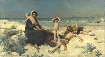 La Plage - Virginie Demont Breton reproduction oil painting