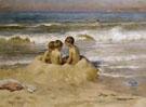Les Petits Goelands - Virginie Demont Breton reproduction oil painting