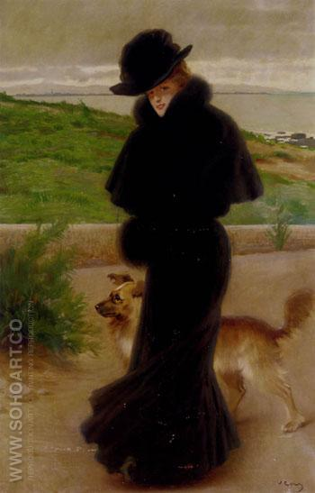 An Elegant Lady with Her Faithful Companion By The Beach - Vittorio Matteo Corcos reproduction oil painting