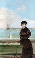 An Elegant Woman at St Malo - Vittorio Matteo Corcos reproduction oil painting