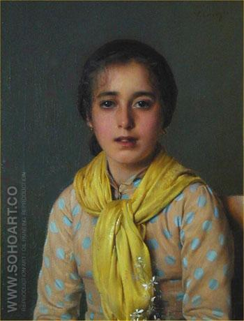 Girl with Yellow Shawl - Vittorio Matteo Corcos reproduction oil painting