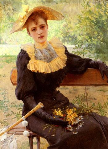 In The Garden 1892 - Vittorio Matteo Corcos reproduction oil painting