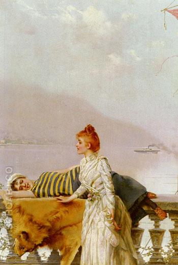 On The Balcony - Vittorio Matteo Corcos reproduction oil painting