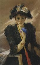 Signora Con Ombrellino c1884 - Vittorio Matteo Corcos reproduction oil painting