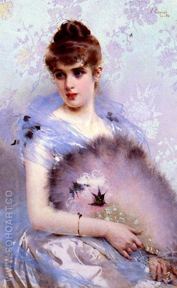 The Feathered Fan 1884 - Vittorio Matteo Corcos reproduction oil painting