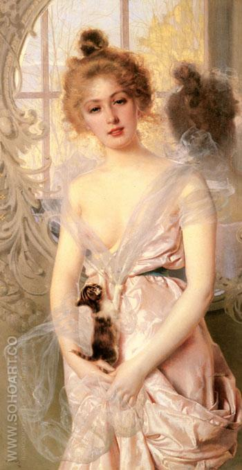 The New Kitten - Vittorio Matteo Corcos reproduction oil painting