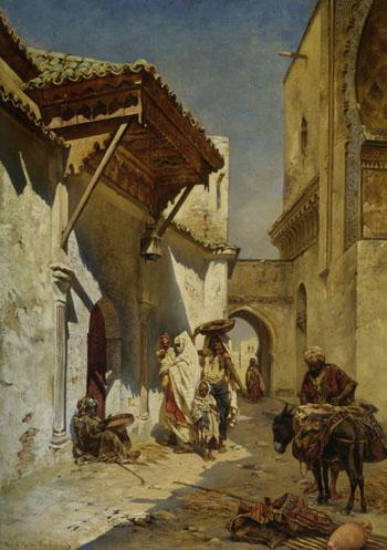 A Street Scene 1888 - Rudolph Gustav Muller reproduction oil painting