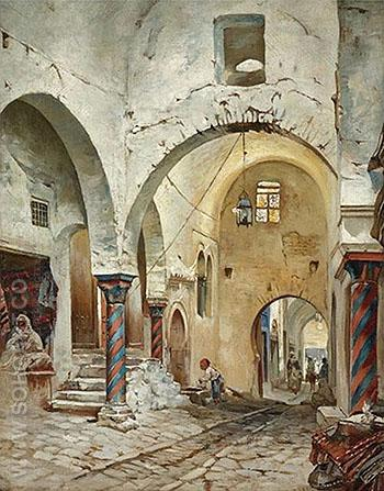 The Souk des Etoffes Tunis - Rudolph Gustav Muller reproduction oil painting