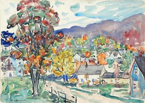 Autumn View c1910 - Maurice Prendergast reproduction oil painting