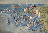 Bathing Marblehead c1896 - Maurice Prendergast reproduction oil painting