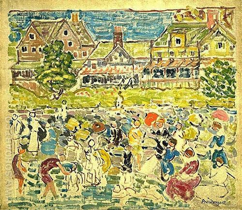 Beach Resort c1918 - Maurice Prendergast reproduction oil painting