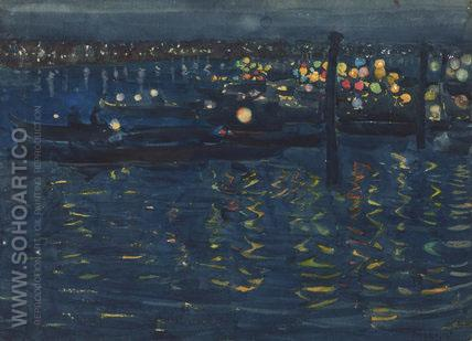 Festival Night Venice c1898 - Maurice Prendergast reproduction oil painting