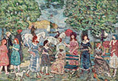 Landscape with Figures c1920 - Maurice Prendergast reproduction oil painting