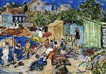 Painting of a Beach Scene c1890 - Maurice Prendergast reproduction oil painting
