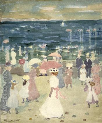 Sunday on the Beach c1894 - Maurice Prendergast reproduction oil painting