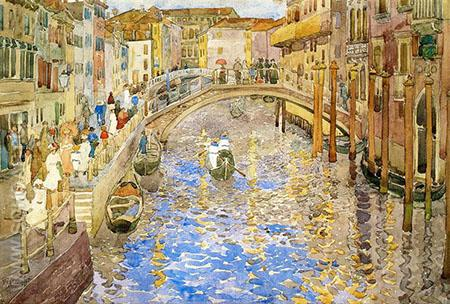 Venetian Canal Scene c1898 - Maurice Prendergast reproduction oil painting