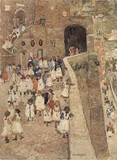 Courtyard Scene Siena 1898 - Maurice Prendergast