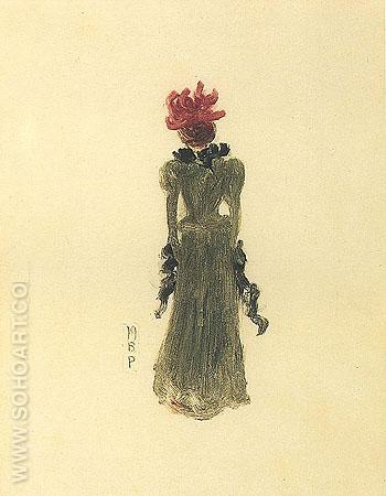 Green Dress c1891 - Maurice Prendergast reproduction oil painting