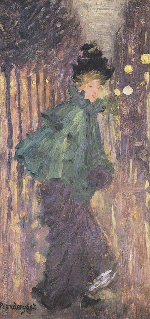 Lady on the Boulevard The Green Cape 1892 - Maurice Prendergast reproduction oil painting