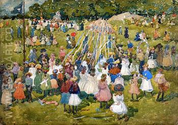May Day Central Park 1901 - Maurice Prendergast reproduction oil painting