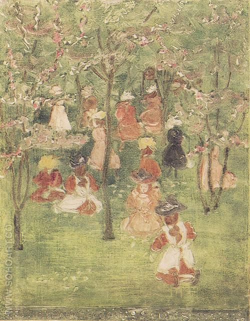 Spring in Franklin Park 1895 - Maurice Prendergast reproduction oil painting