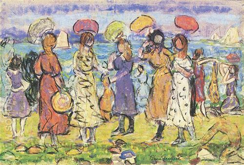 Sunny Day at the Beach - Maurice Prendergast reproduction oil painting