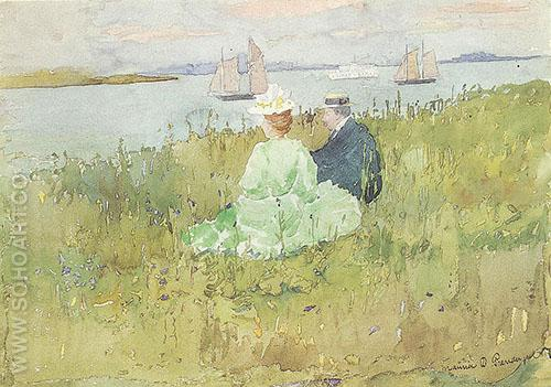 Viewing the Ships 1896 - Maurice Prendergast reproduction oil painting