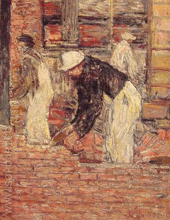 Bricklayers c1900 - Childe Hassam reproduction oil painting