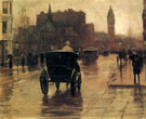 Columbus Avenue Rainy Day B c1885 - Childe Hassam reproduction oil painting