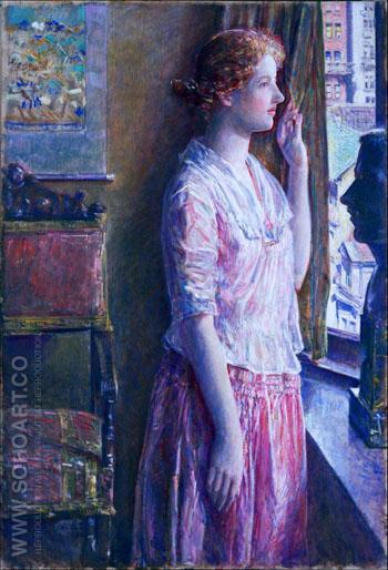 Easter Morning Portrait at a New York Window 1921 - Childe Hassam reproduction oil painting