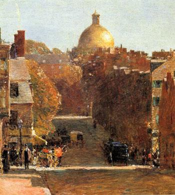 Mount Vernon Street Boston 1890 - Childe Hassam reproduction oil painting