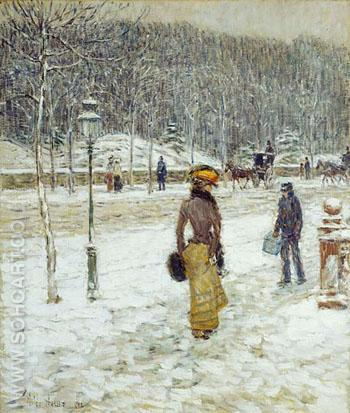 New York Street - Childe Hassam reproduction oil painting