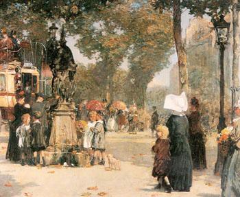 Paris Street Scene 1887 - Childe Hassam reproduction oil painting