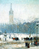 Snowstorm Madison Square c1890 - Childe Hassam reproduction oil painting