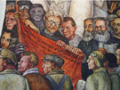 Mural Detail Leon Trotsky Karl Marx Nelson Rockerfeller Intrique and Assassination - Diego Rivera