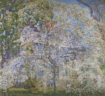 Spring The Dogwood Tree - Childe Hassam reproduction oil painting